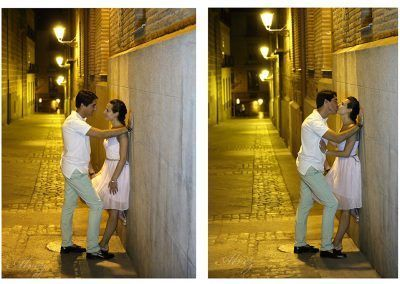 novios en calle nocturna