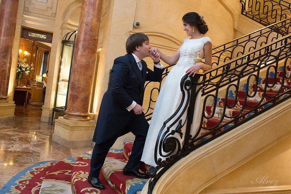 foto en la escalera del Ritz